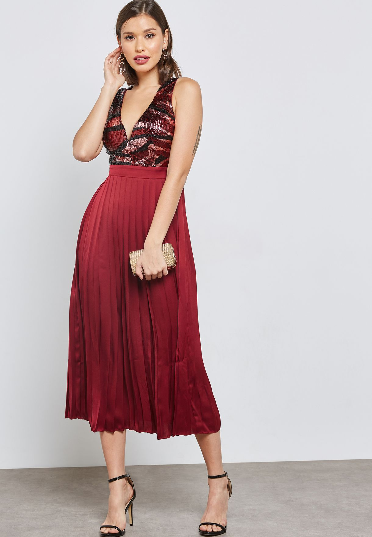 d9ddf3338da0d Little Mistress Embroidered Lace Top Maxi Dress With Pleated Skirt ...