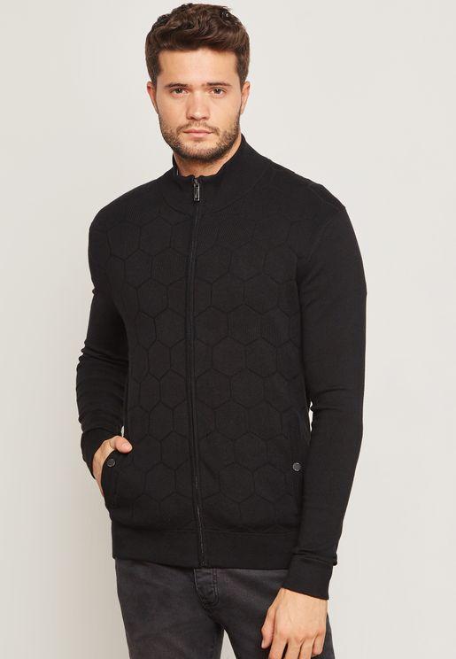 Hexagon Zip Through Funnel Neck Sweatshirt