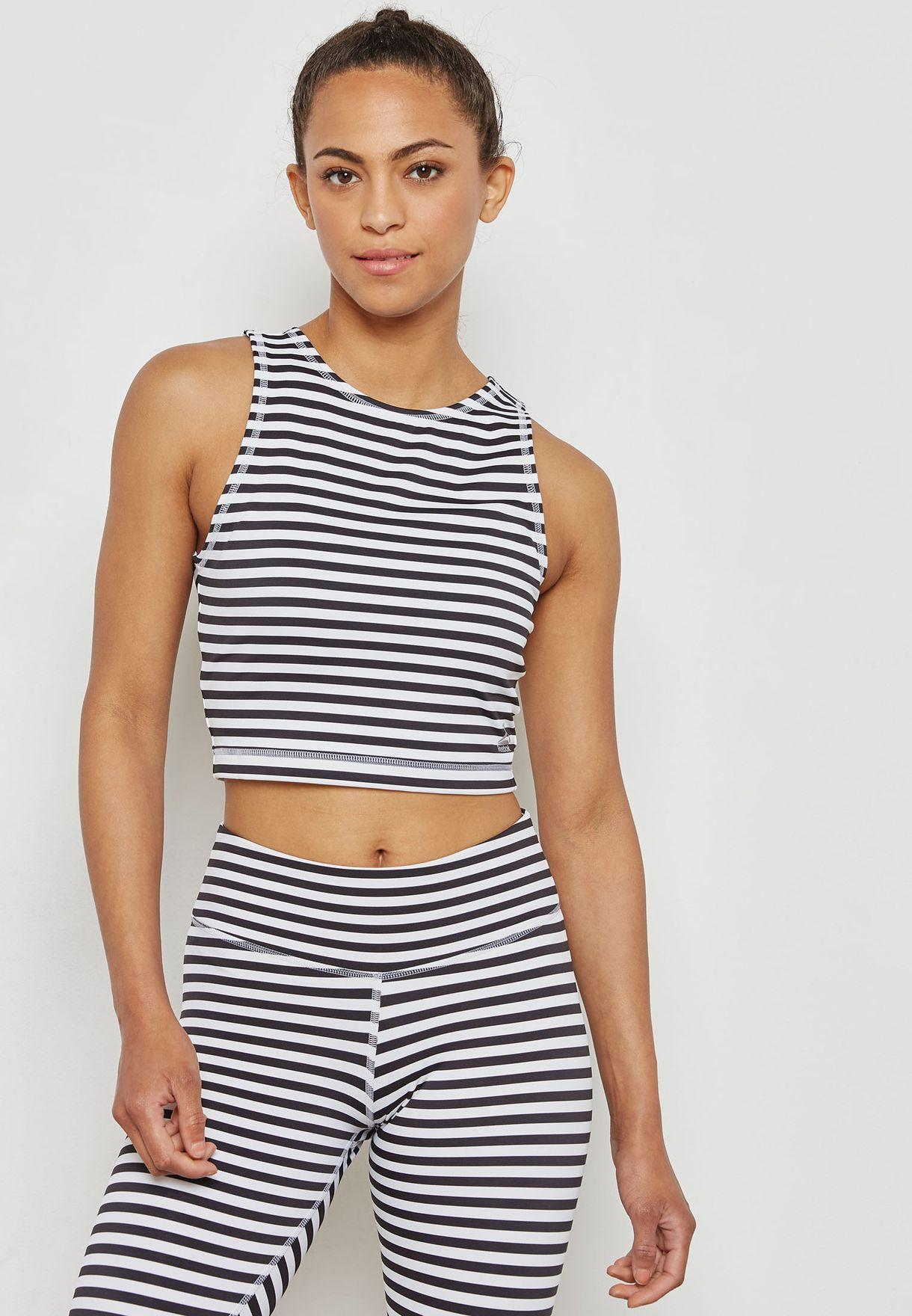 9be5a4f0e61a Shop Reebok monochrome Stripe Cropped T-Shirt CF8697 for Women in Qatar -  RE019AT74KBT