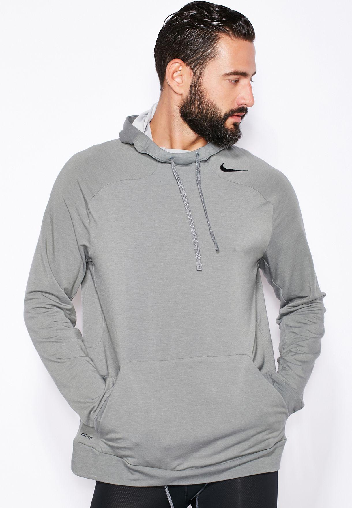 b12b46f7b Shop Nike grey Dri-Fit Touch Fleece Hoodie 728448-037 for Men in ...