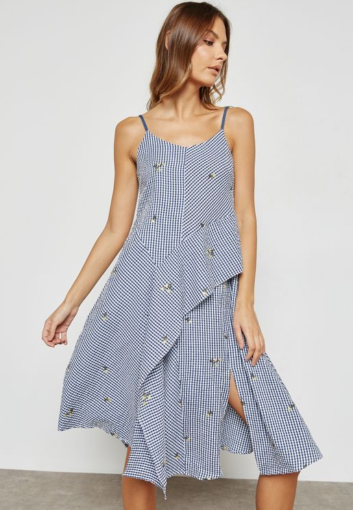 Floral Embroidery Checked Dress
