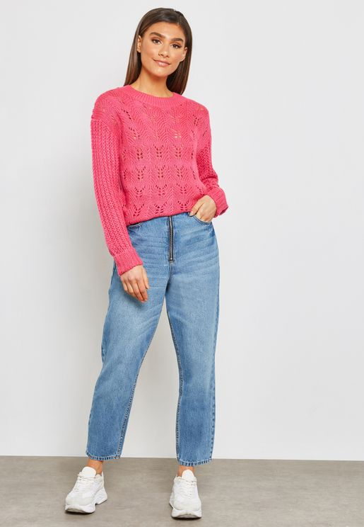 Zippered High Rise Jeans