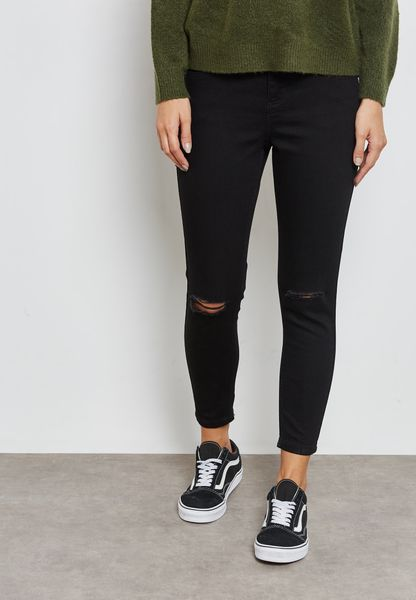 Darcy Ripped Mid Rise Annkle Grazer Skinny Jeans