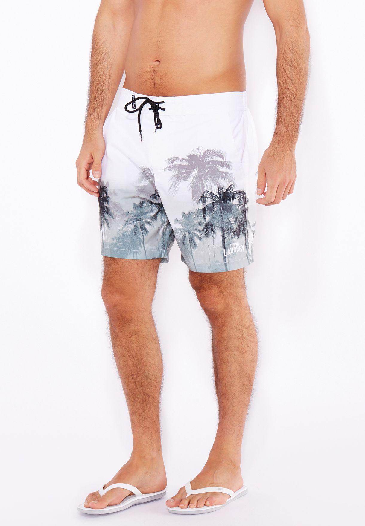 804df9de58 Shop Tokyo laundry white Finn Palm Tree Swimshorts for Men in Kuwait ...