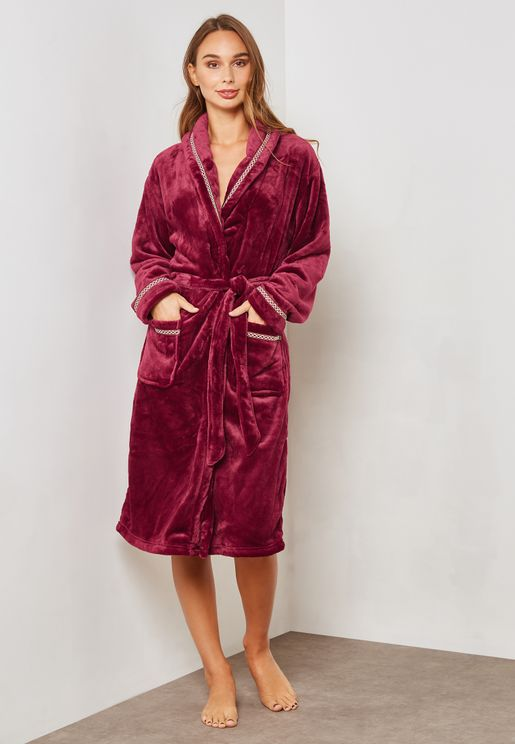 Contrast Piping Fleece Robe 64b6bdda7
