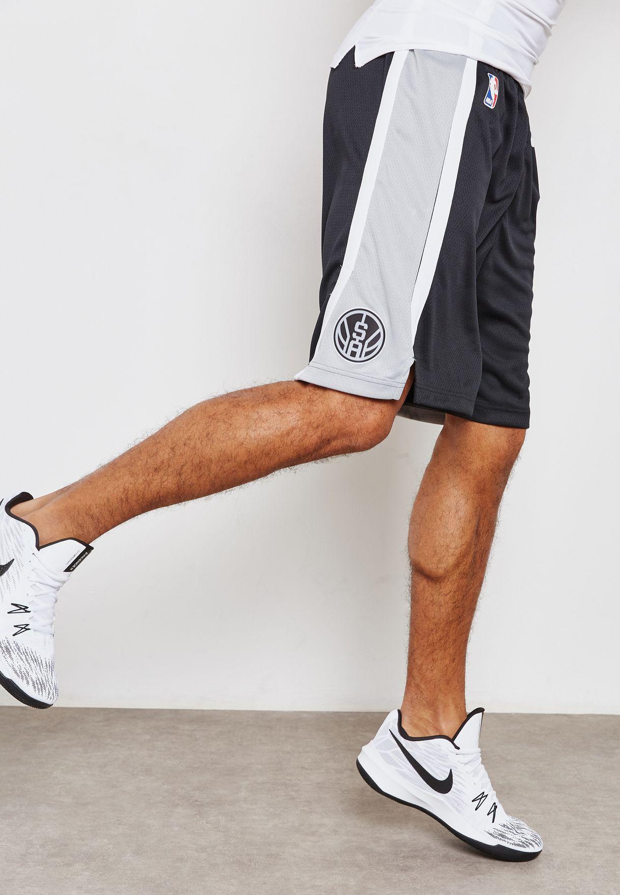 899dfa5a8141 Shop Nike black San Antonio Spurs Swingman Road Shorts 866877-010 ...