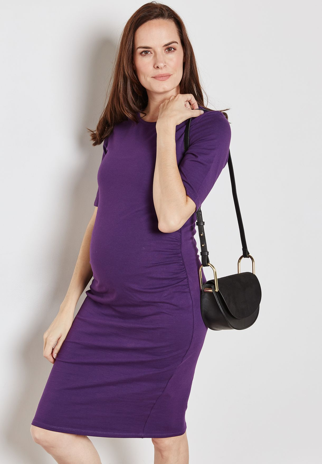 ed060a32d9a Shop Dorothy Perkins Maternity purple Side Ruched Bodycon Dress ...