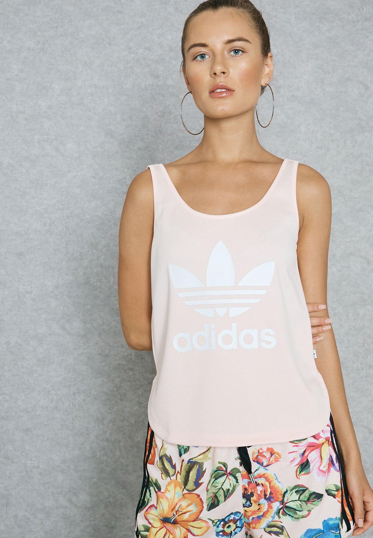 b6565e98a8eba Shop adidas Originals pink Loose Crop Tank Top BP9379 for Women in ...