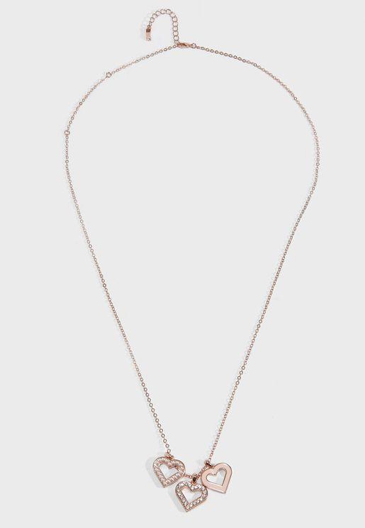 Ezzrela Enchanted Triple Heart Pendant Necklace