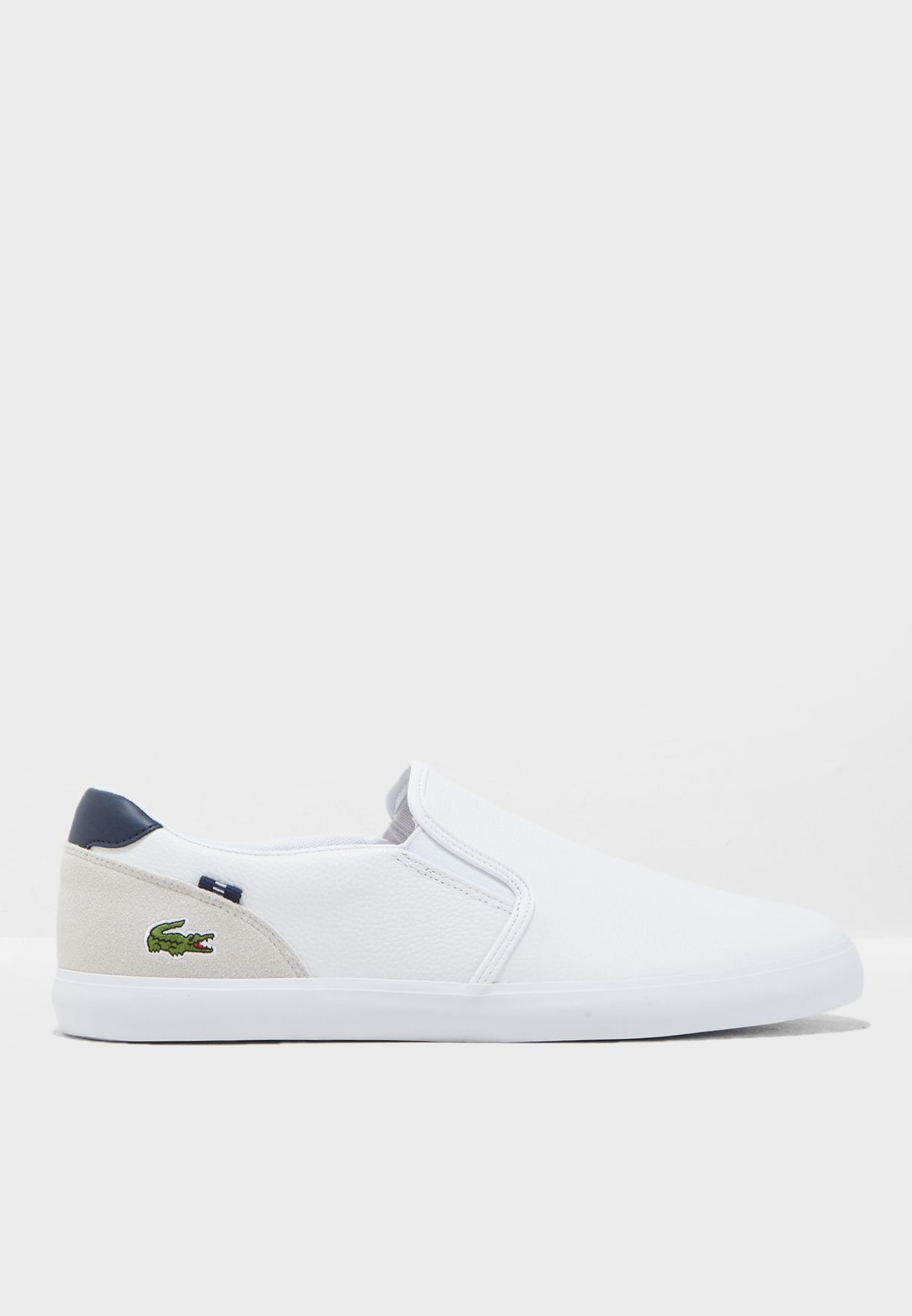32382c9a70a8 Shop Lacoste white Jouer Slip Ons 36CAM0038042 for Men in UAE ...