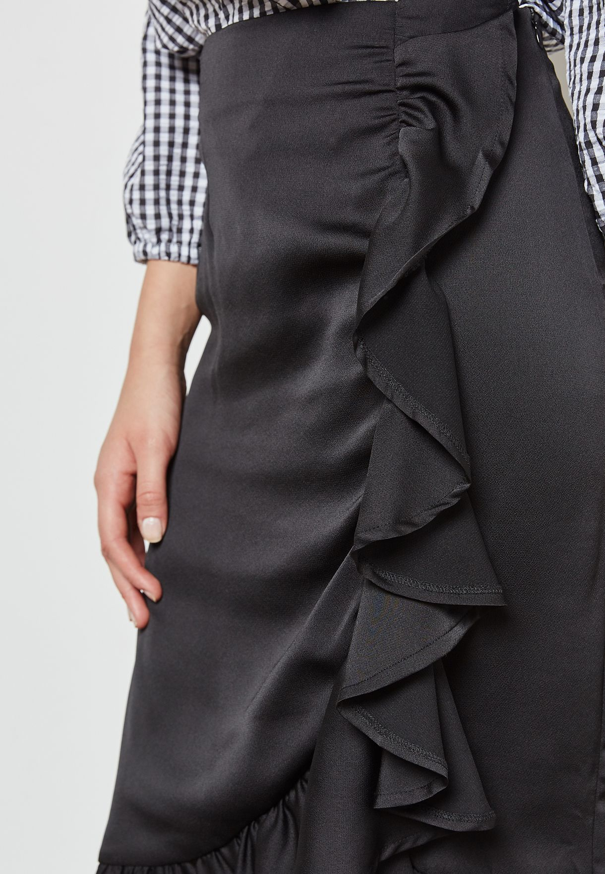 Wrap Front Ruffle Trim Skirt