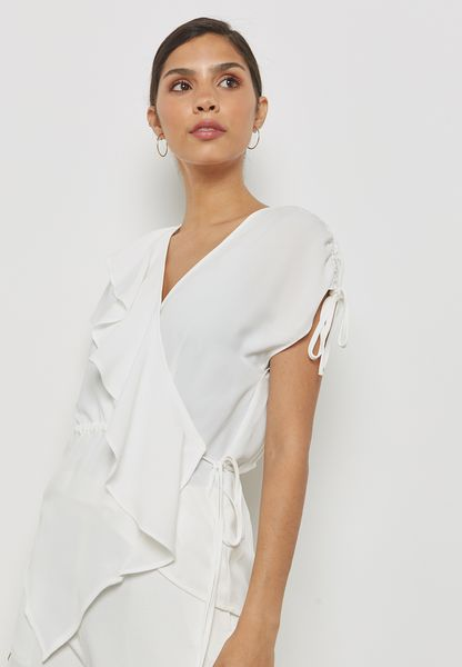 Asymmetric Ruffle Detail Top