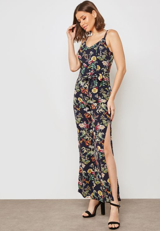Floral Print Side Slit Jumpsuit