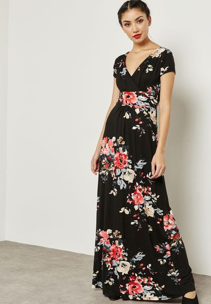 Floral Print Wrap Front Tie Maxi Dress