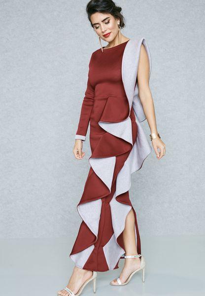 One Side Ruffle Paneled Dress