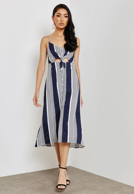 Cut Out Striped Midi Dress