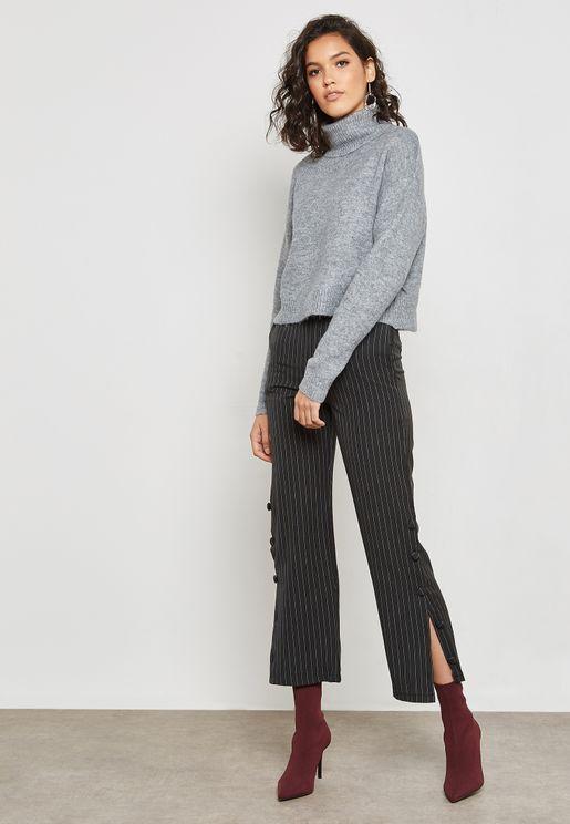 Pinstripe Side Button Pants