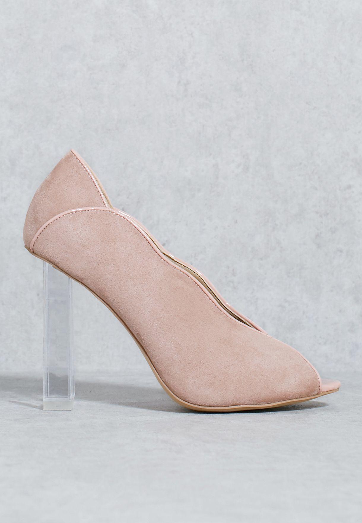 7ab6e565294 Pink Perspex Heel Peeptoe Court Shoes