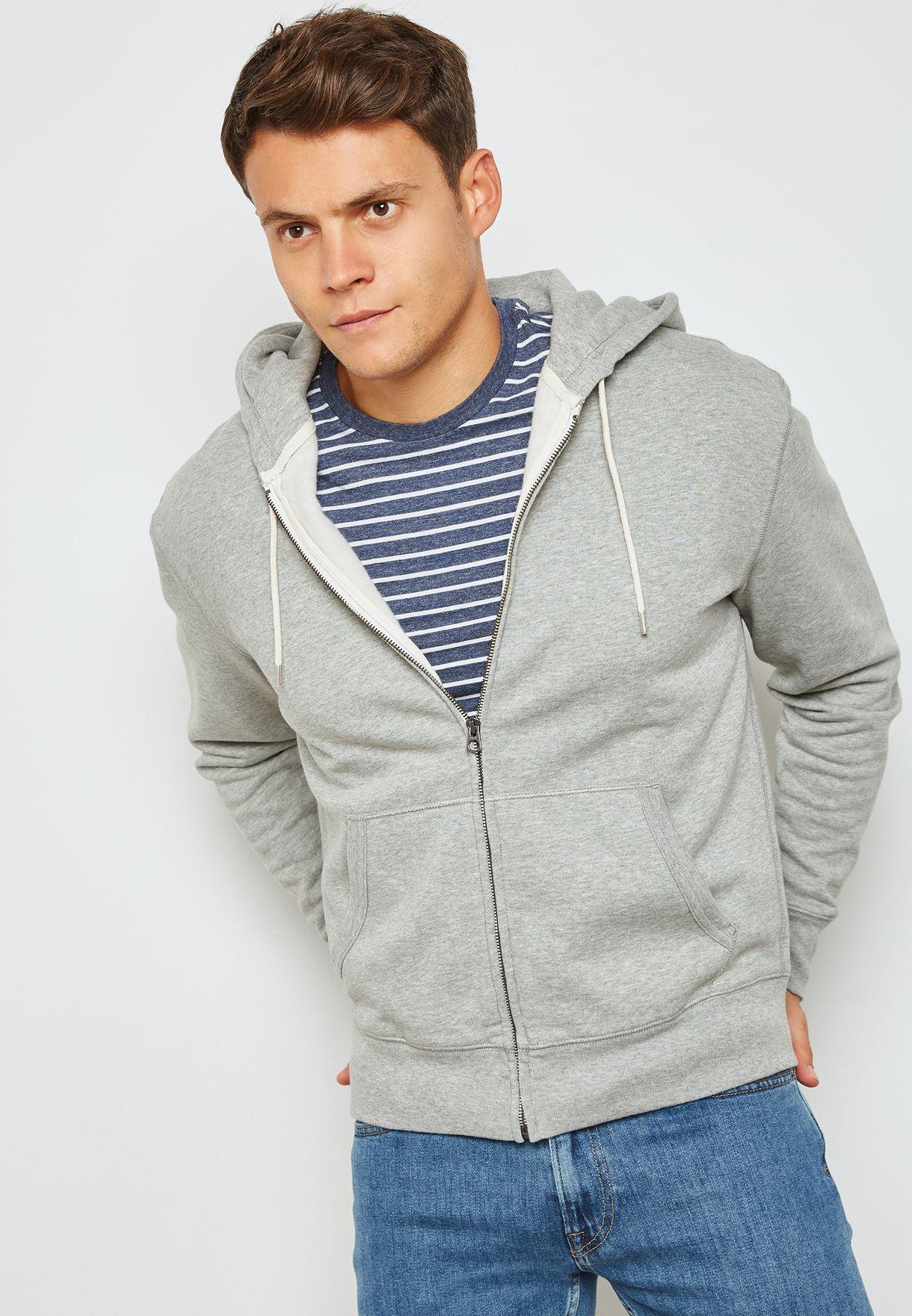 528d88c81 Shop J.Crew grey Brushed fleece Full Zip Hoodie J7020 for Men in ...