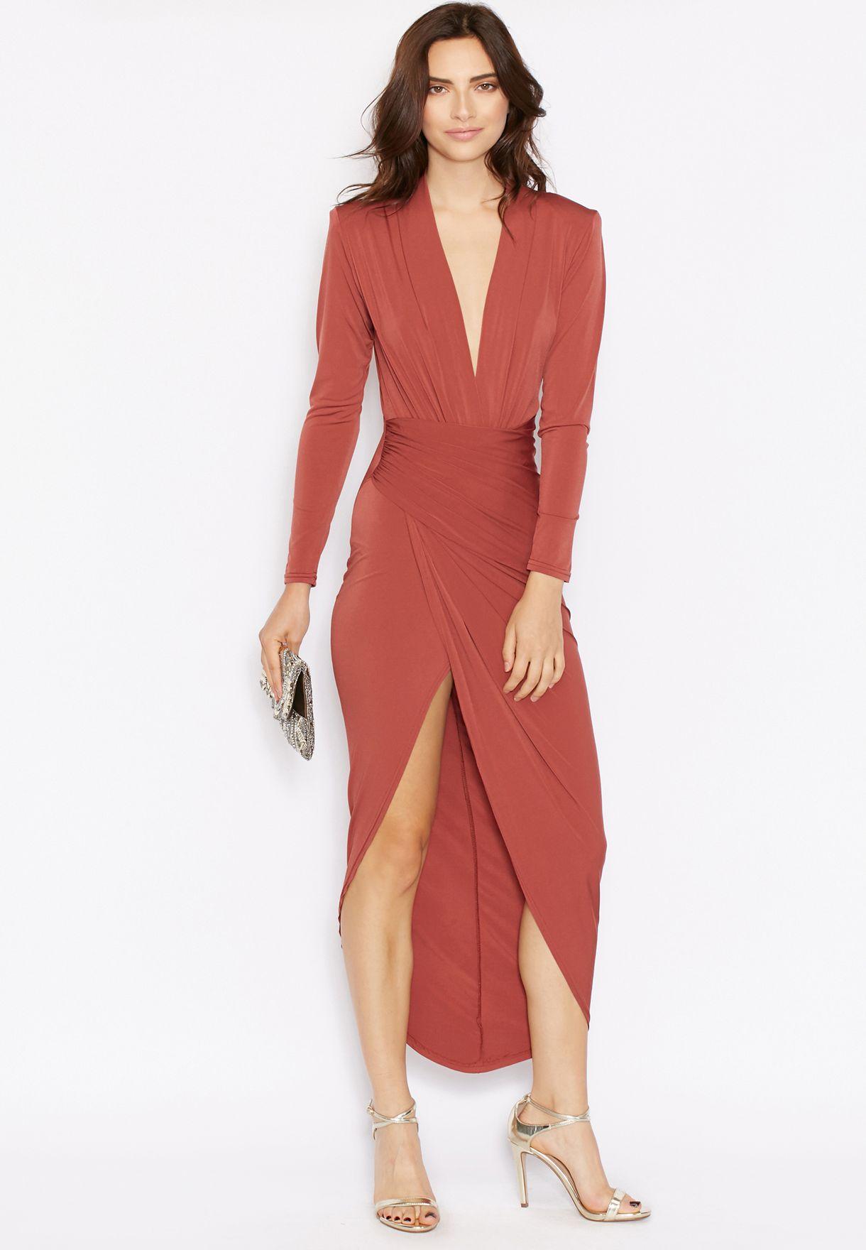 aa21d7c11 Shop John Zack brown Wrap Front Maxi Dress for Women in Kuwait ...