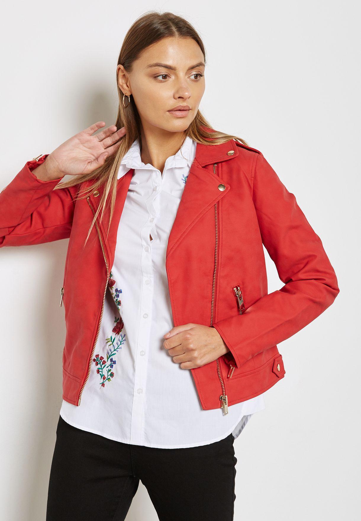 0497d8292f2 Shop Dorothy Perkins red Biker Jacket 92311026 for Women in UAE ...