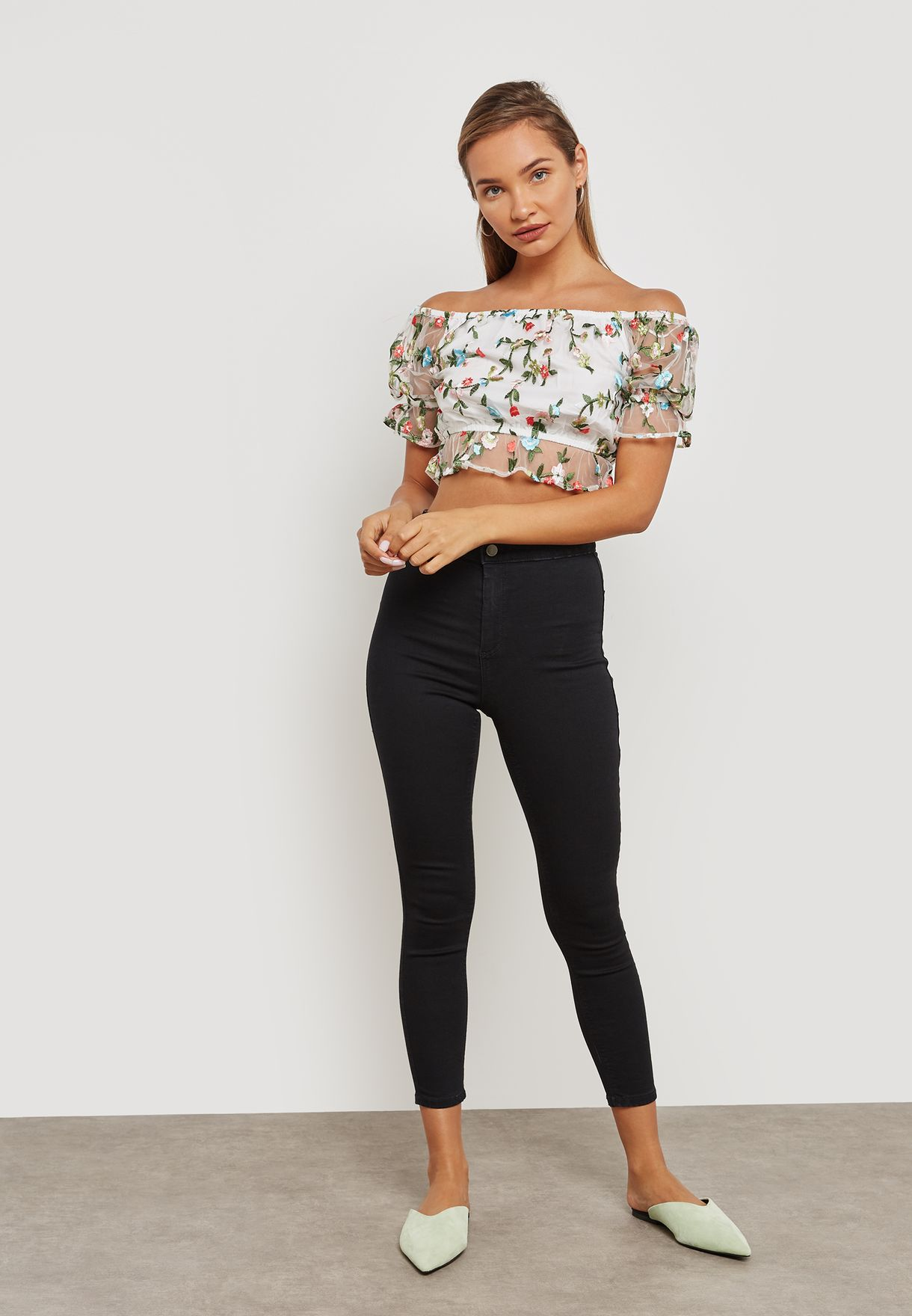 Embroidered Mesh Bardot Top