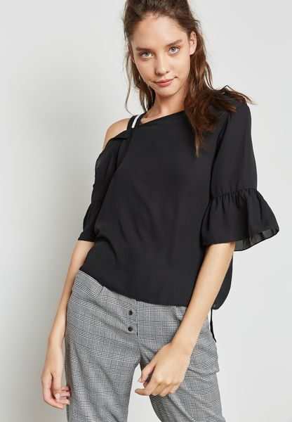 Contrast One Shoulder Ruffle Top
