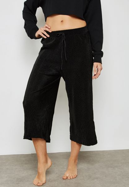 Ribbed Tie Waist Cropped Pyjama