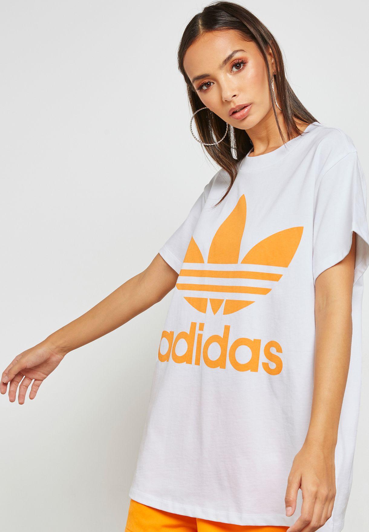 sale retailer 7353e 6b9fd Shop adidas Originals white adicolor Trefoil T-Shirt DH3165 for Women in  Kuwait - AD478AT64YFJ