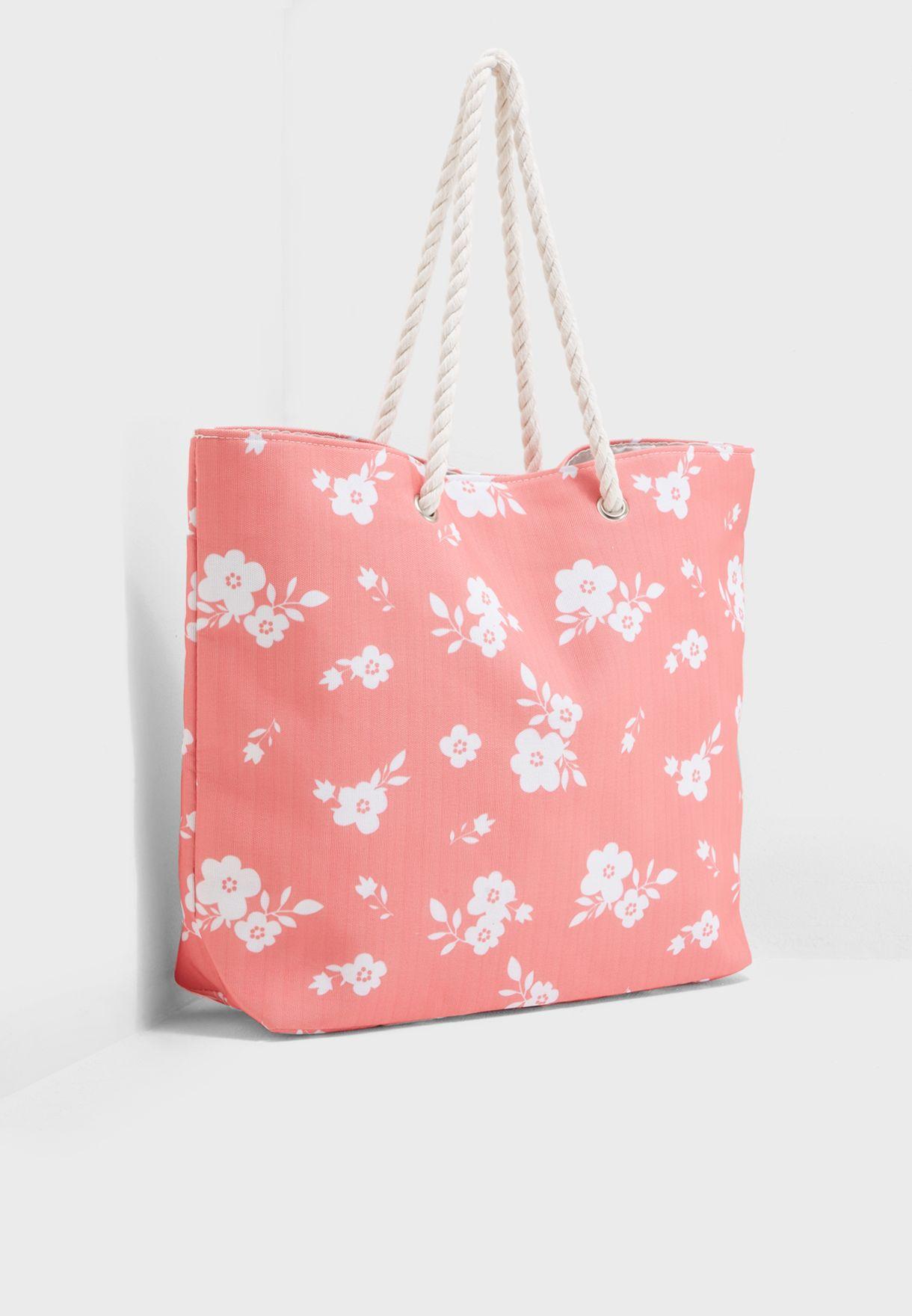 Floral Print Beach Shopper