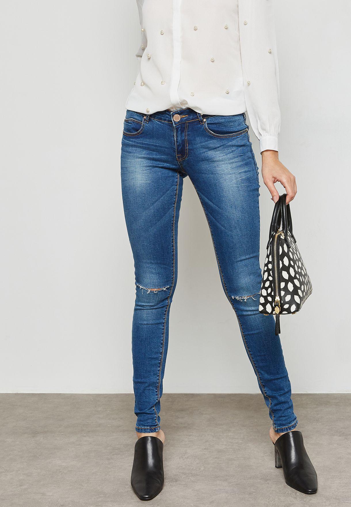 9dc8a740a تسوق جينز سكيني بأجزاء ممزقة ماركة لوست انك لون أزرق ...