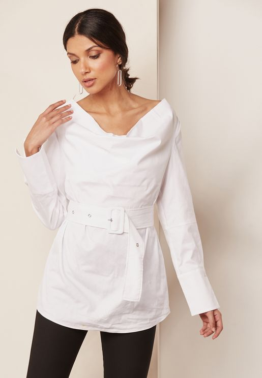 One Shoulder Belted Exaggerated Cuff Shirt