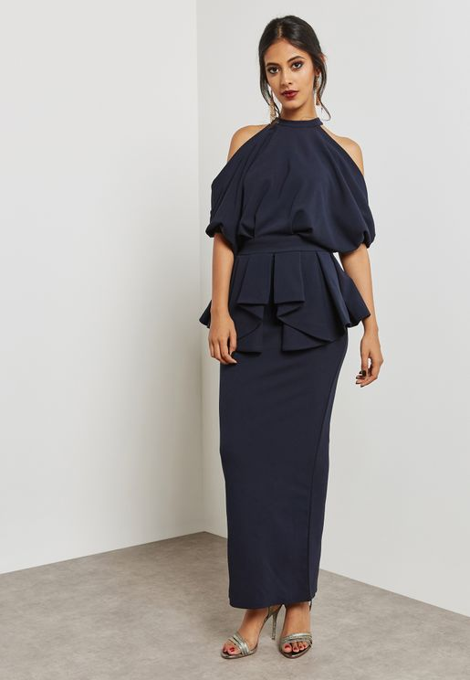 Cold Shoulder Peplum Dress