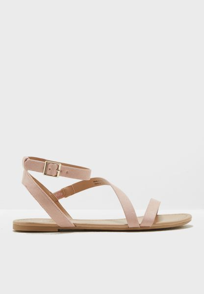 Bellana Blush Suede Buckle Up Sandal