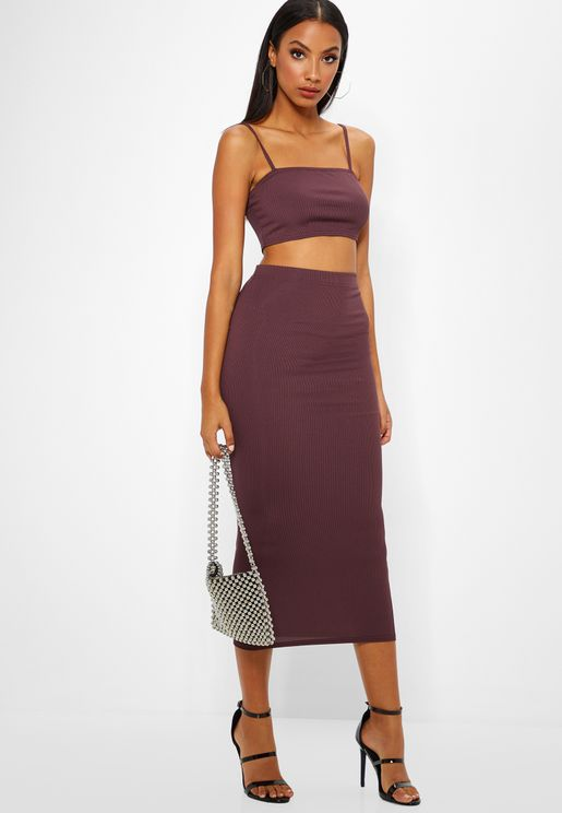 Midi Skirt & Stappy Crop Top Set