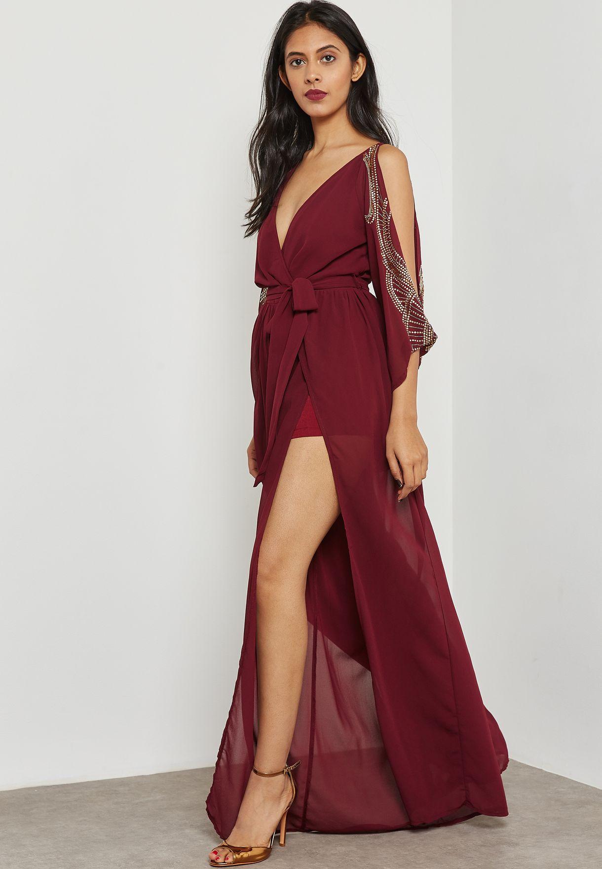Shop Soieblu burgundy Split Sleeve Maxi Dress J17338 for Women in ...