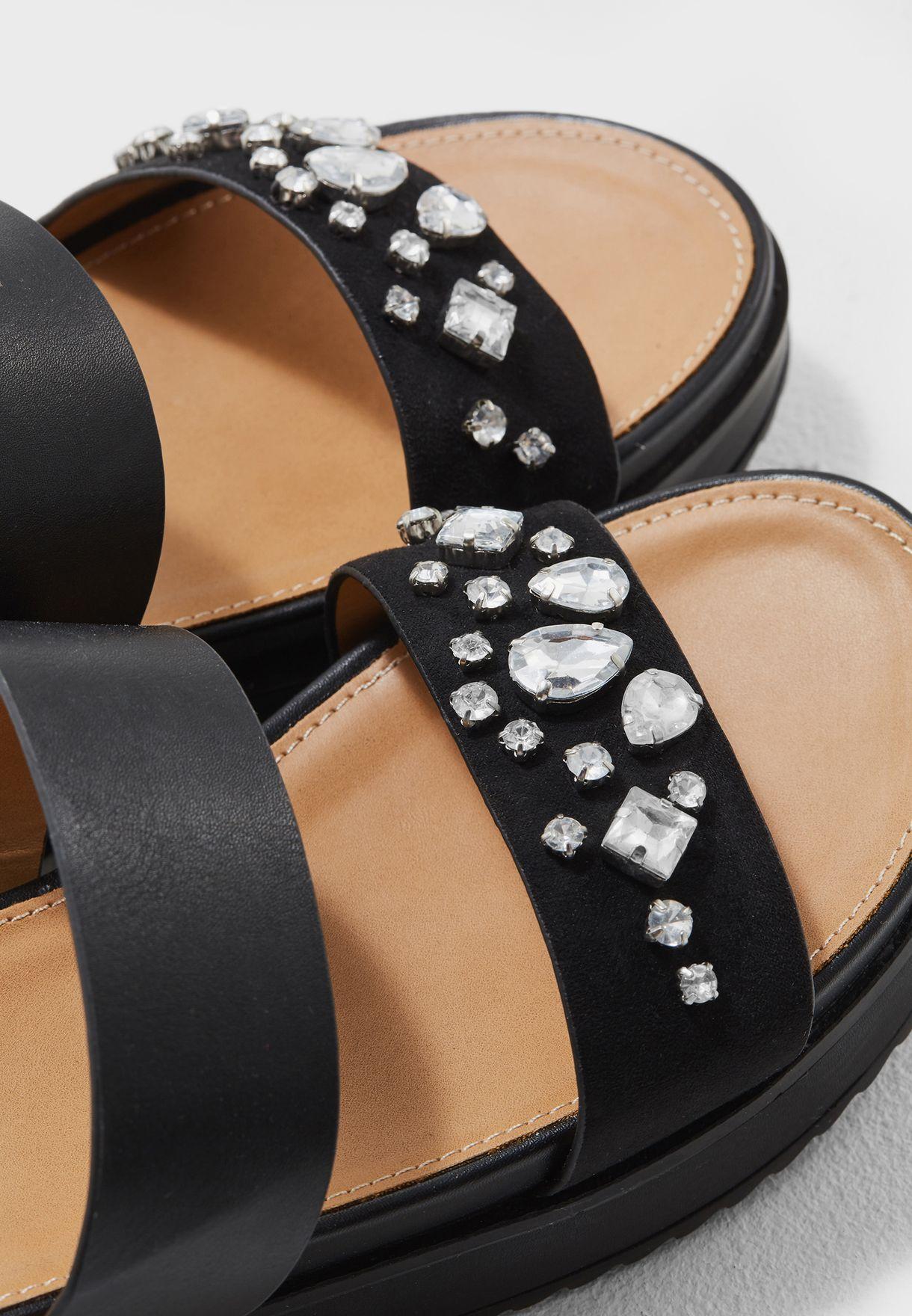 Embellished Double Band Platform Sandal