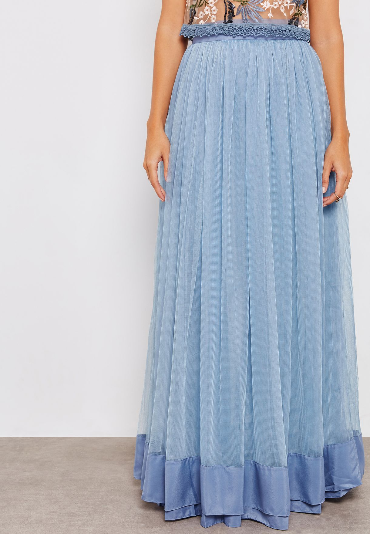 Sheer Hem Detail Skirt
