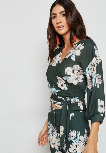 Floral Print Wrap Front Self Tie Top