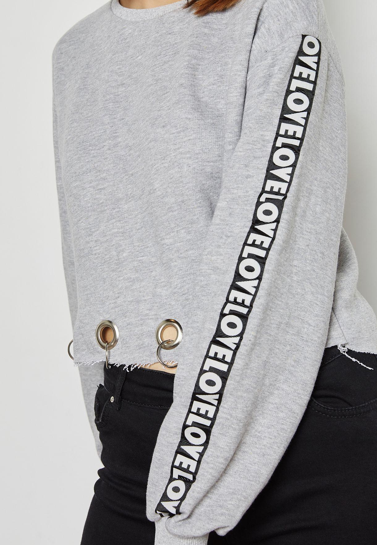 Slogan Sleeve Eyelet Hem Sweatshirt