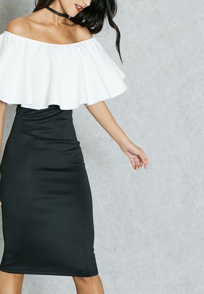 Colourblock Ruffle Bardot Dress