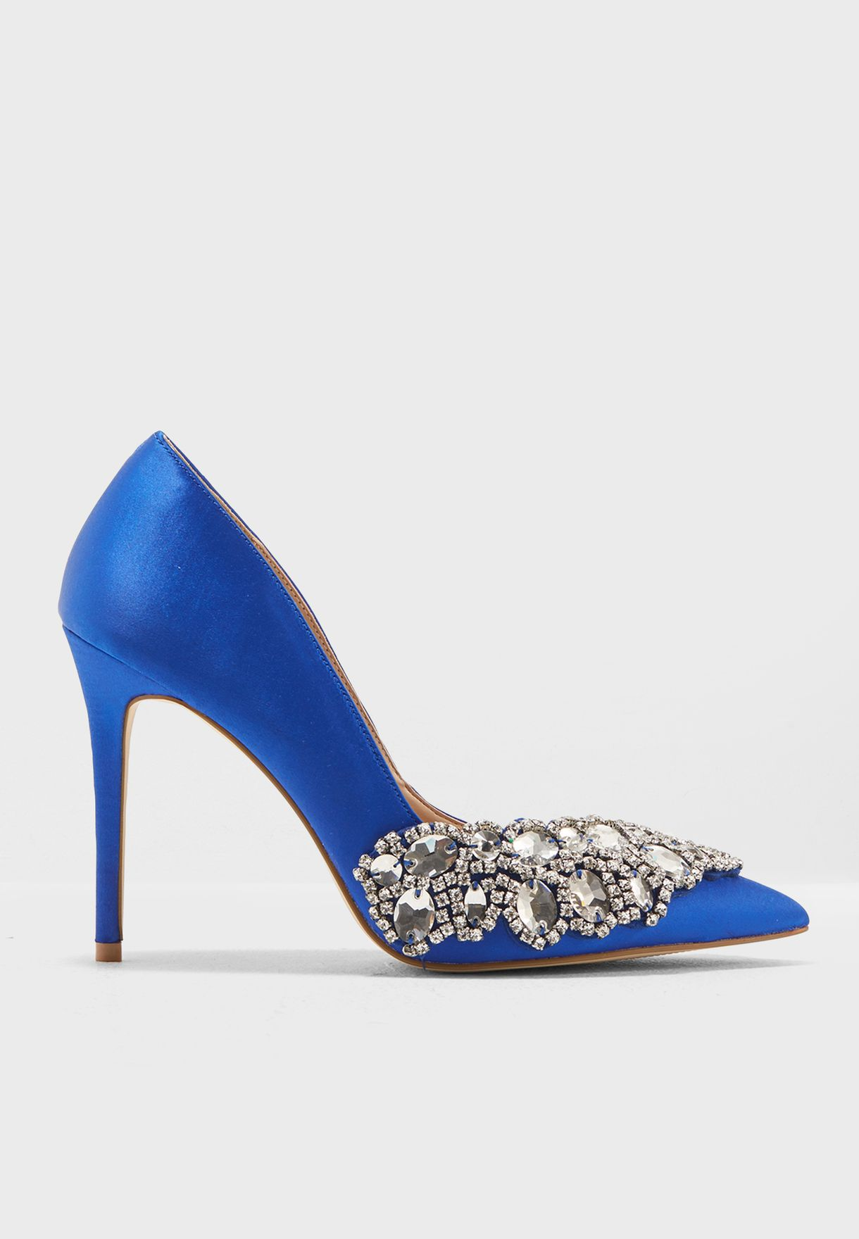 5cb0e61e0879 Shop Miss Selfridge blue Libertie Embellished Court Pump 51L26WBLU ...
