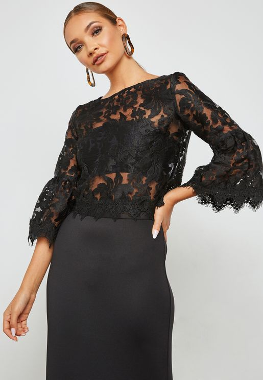 Lace Trim Bell Sleeves Top