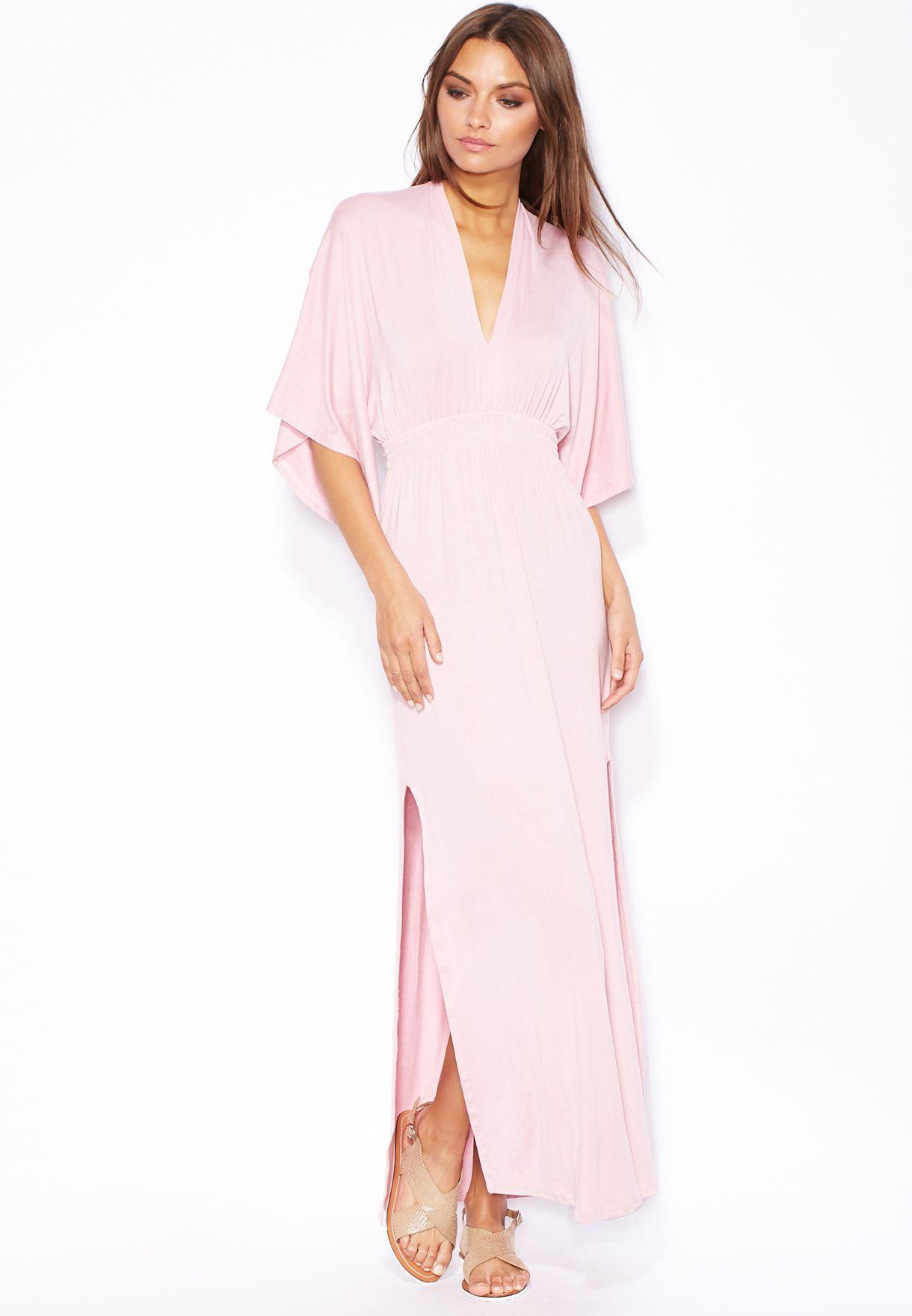 b4a52736dcfd2 تسوق فستان ماكسي بخصر مزموم ماركة جينجر لون وردي في السعودية ...