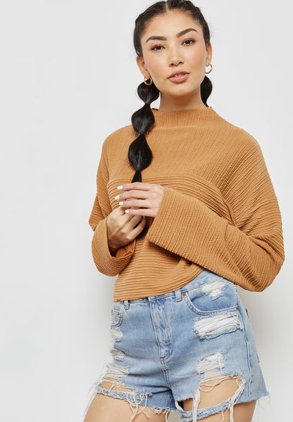 Funnel Neck Cropped Top