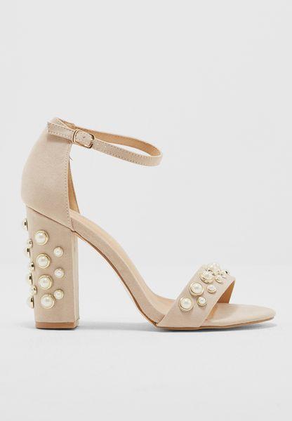 Pearl Embellished Block Heels