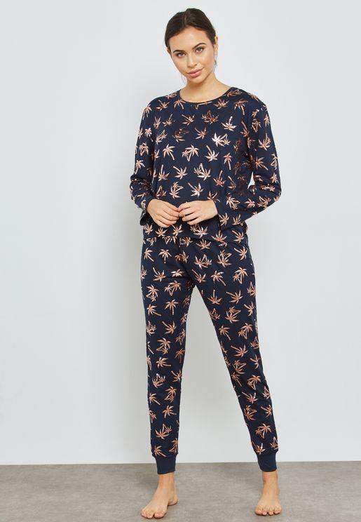 Palm Print Pyjama Set