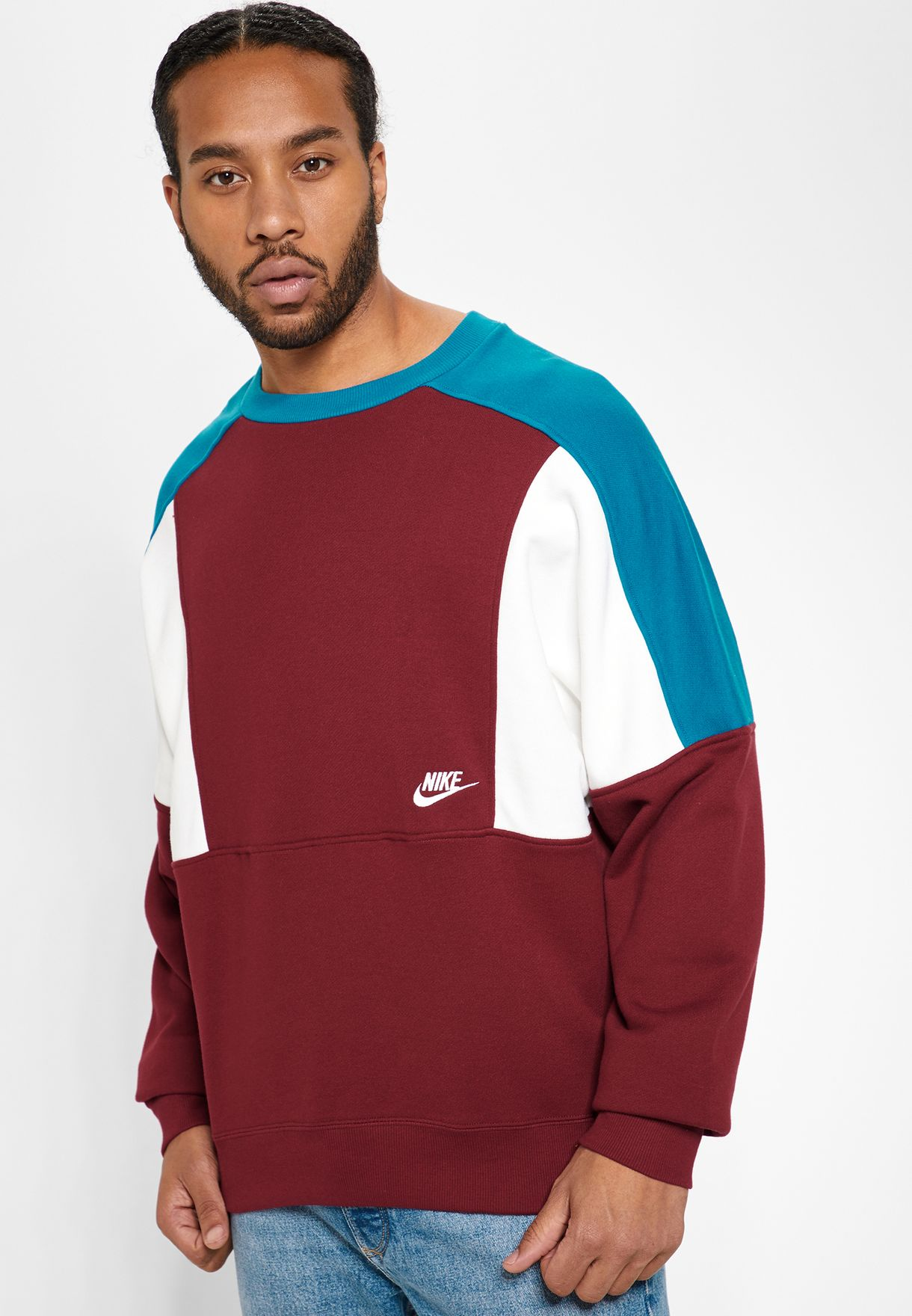 5cbf7a0185cd Shop Nike burgundy Reissue Fleece Sweatshirt AQ2061-677 for Men in UAE -  NI727AT64EQP