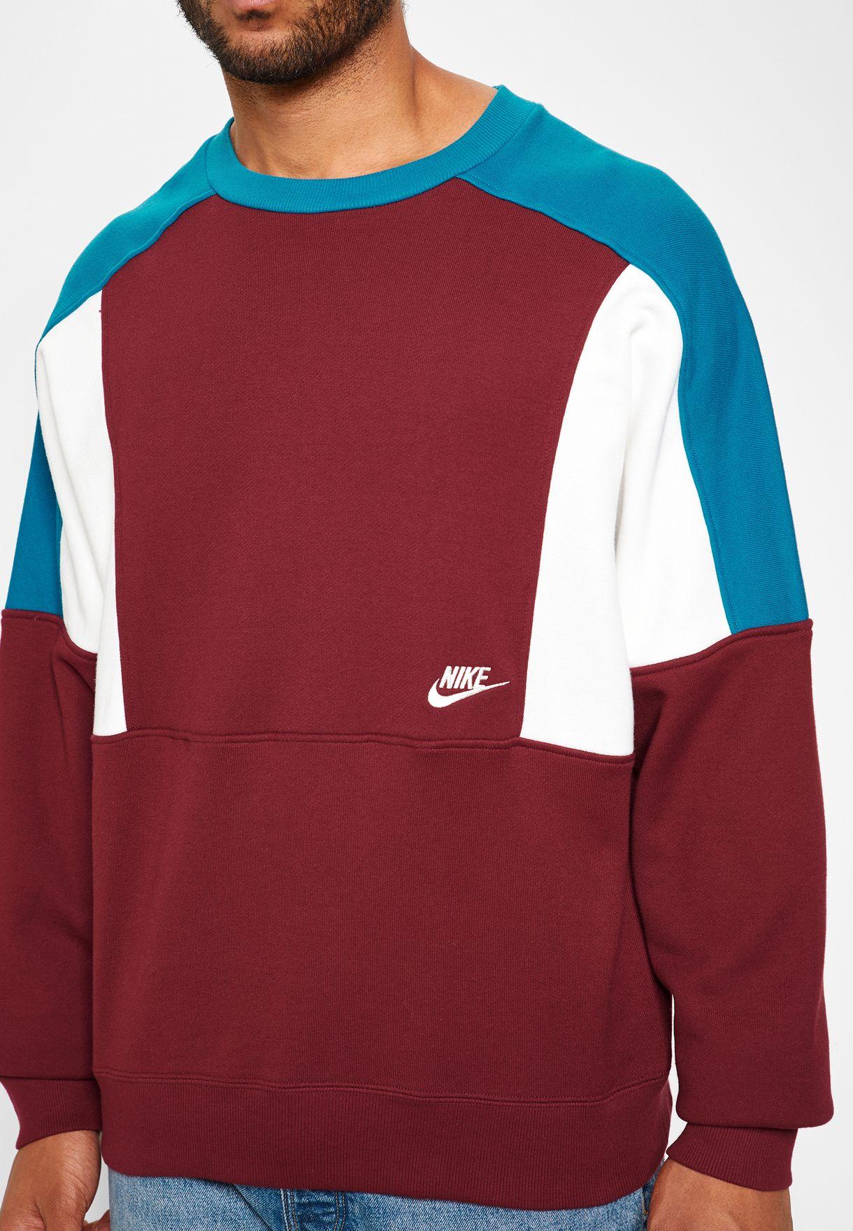 Buy Nike Burgundy Reissue Fleece Sweatshirt For Men In Mena Worldwide Aq2061 677 [ 1760 x 1220 Pixel ]