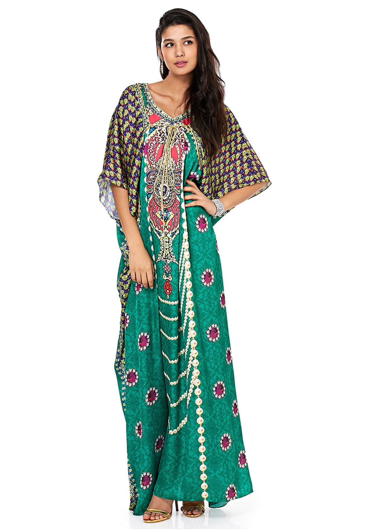c939b62b0 Shop Aanchal chanda animalprint Jacket Style Kaftan for Women in ...